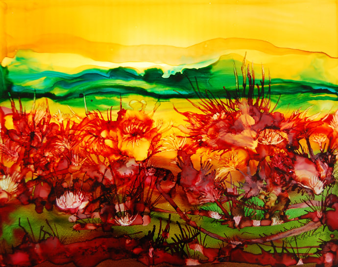 Yellow sky with green hills in the distances containing blooming red flowers with cactus spikes.