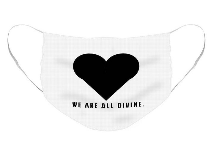 White background and black heart with words; WE ARE ALL DIVINE.
