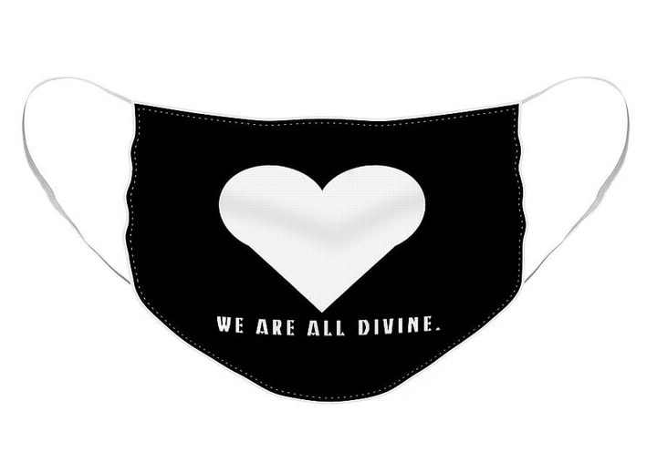Black background and white heart with words; WE ARE ALL DIVINE.